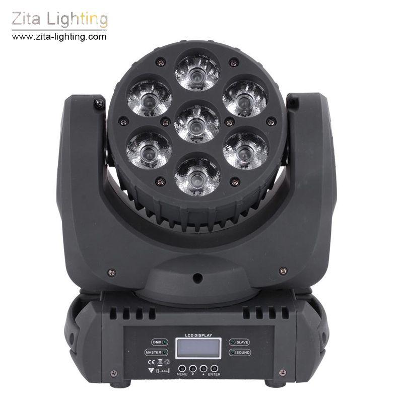 Zita Lighting LED Moving Head Lights Mini Rotating Stage Lighting 7X15W RGBW Wash Beam Lights DMX 512 DJ Disco Party Show Effect