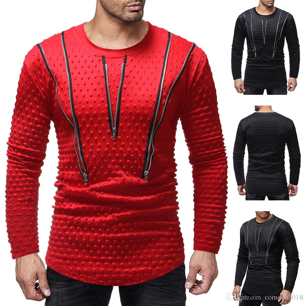 designer mens t shirts 2019 long sleeve zipper Mens Dress Shirts High Quality Fashion Casual Mens Bottoming shirts solid color clothes