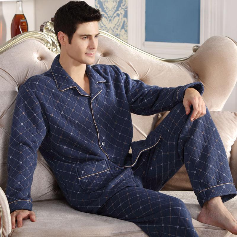 Moda autunno uomo pigiama abbigliamento per la casa manica lunga caldo pigiama invernale pigiami da uomo addensare cotone sonno lounge M-4XL taglia all'ingrosso