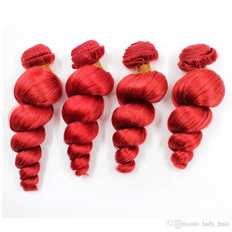 """느슨한 웨이브 버진 브라질 붉은 인간의 머리 Wefts 확장 4pcs 느슨한 물결 모양의 붉은 색의 버진 레미 인간의 머리카락 번들 번들 10-30 """""""