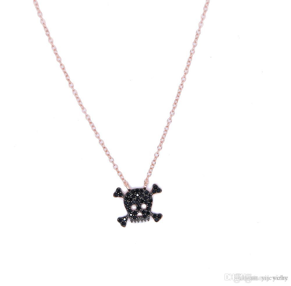 usine en gros baisse expédition stock pave noir zircone rose or 925 sterling argent dames dames femmes crâne collier