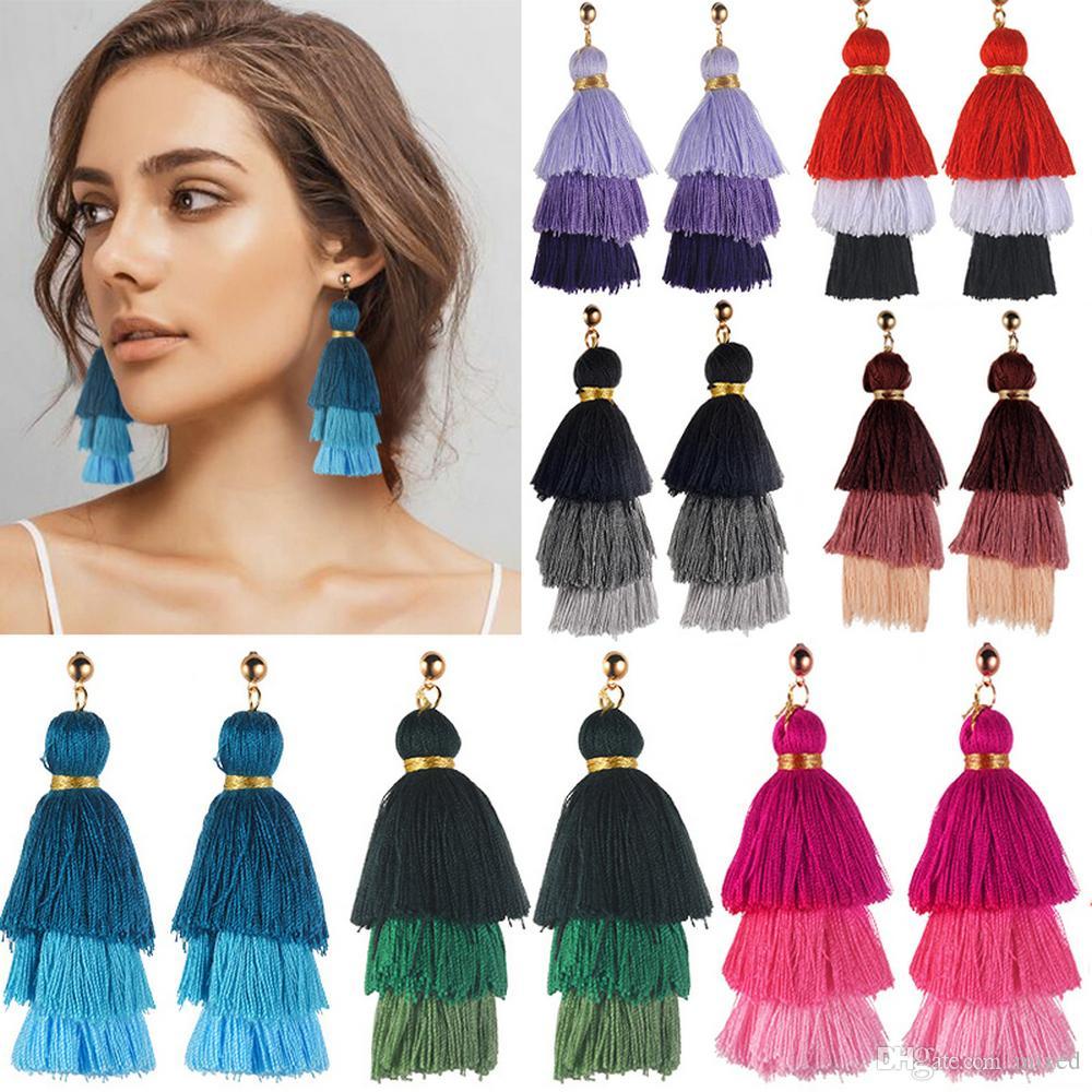 Moda Elegante Donne Bohemian Vintage Long Tassel Drop Earring Boho Dangle Orecchini regalo gioielli