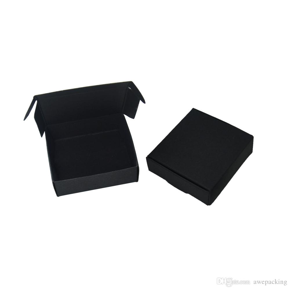 6.5*6*2cm 50Pcs/Lot Black Gift Carton Kraft Paper Box Wedding Party Candy Box Party Favors Soap Storage Boxes Jewelry Package Box