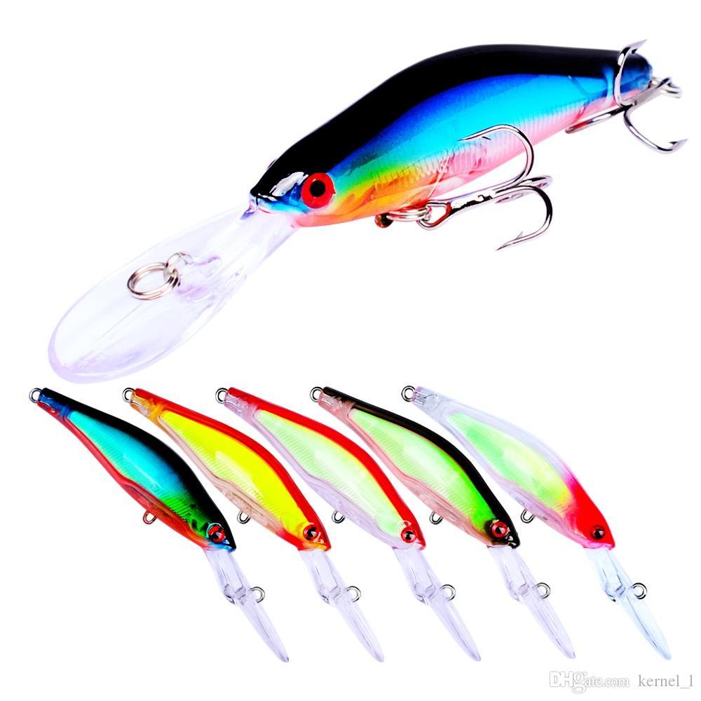 Mezclado 5 colores 10cm 7g Minnow Cebos duros Señuelos 8 # Gancho Anzuelos de pesca Anzuelos Anzuelos de plástico artificial Accesorios de pesca