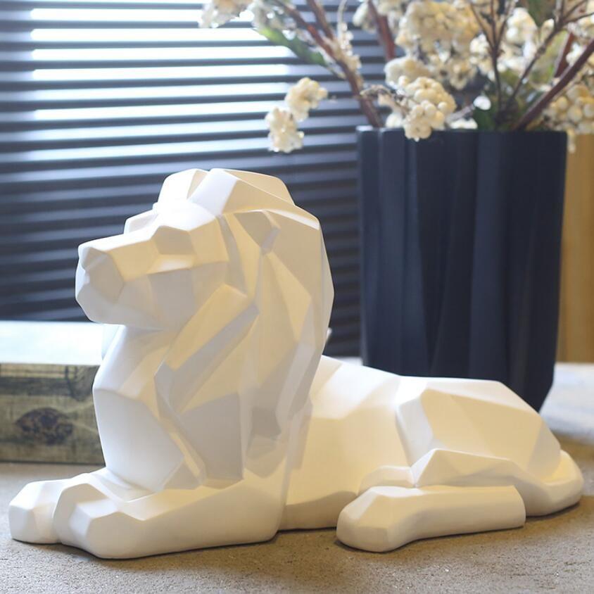resina geometria astratta leone figurine artigianato arredamento casa decorazione oggetti vintage ornamento resina animali figurine regali