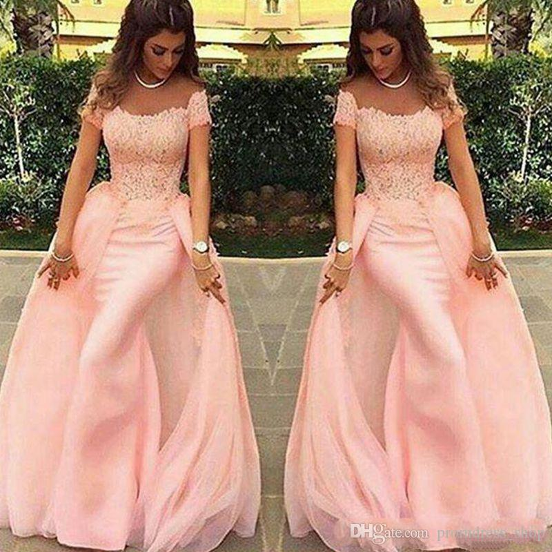 Long Evening Dresses 2019 New Mermaid Lace Pink Formal Prom Dress Arabic Evening Gowns Robe De Soiree Vestidos De Festa