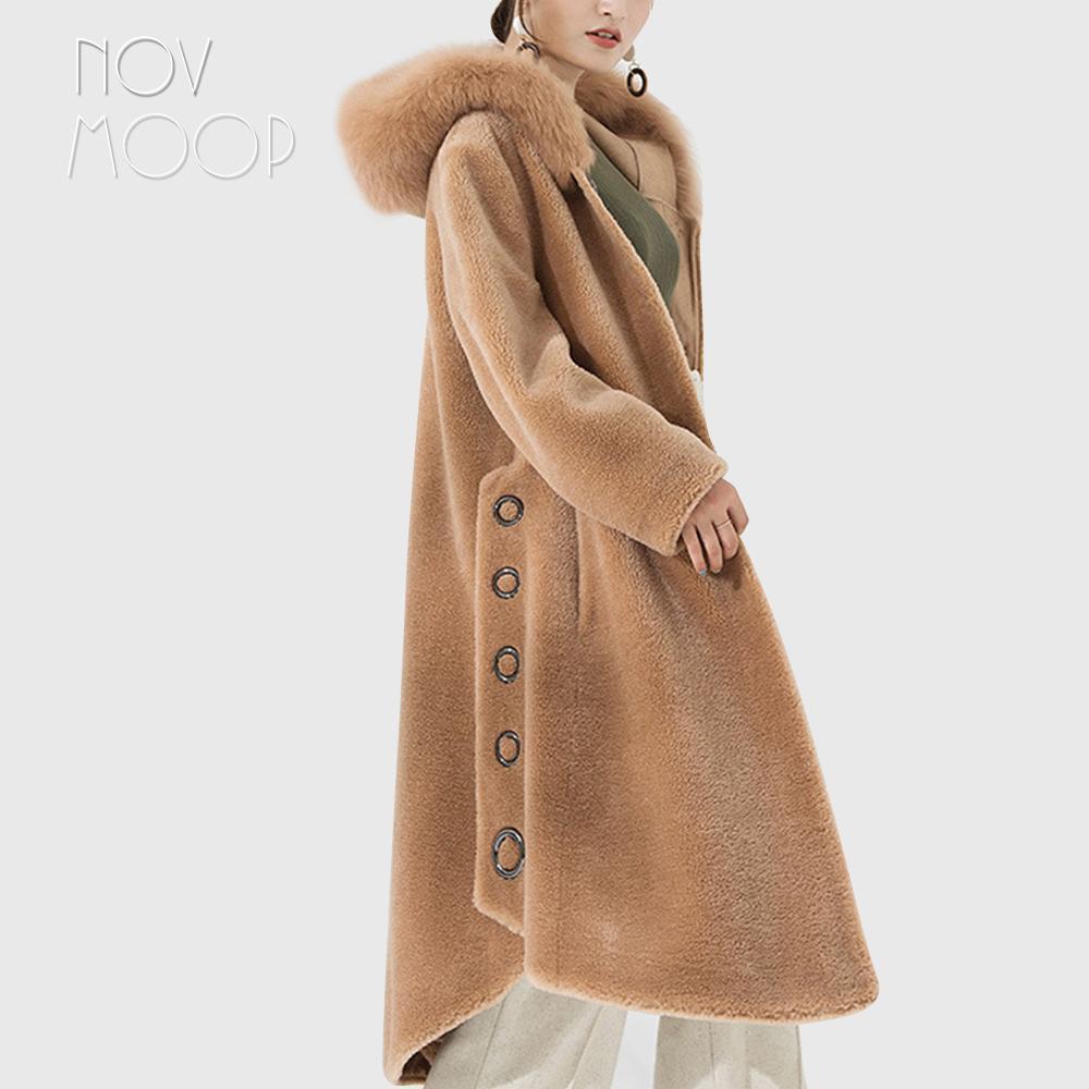 Hiver chaud femmes chameau bleu 100% laine manteau en peau de mouton manteau de fourrure de renard réel à capuchon longue outwear coupe-vent casacos LT2616