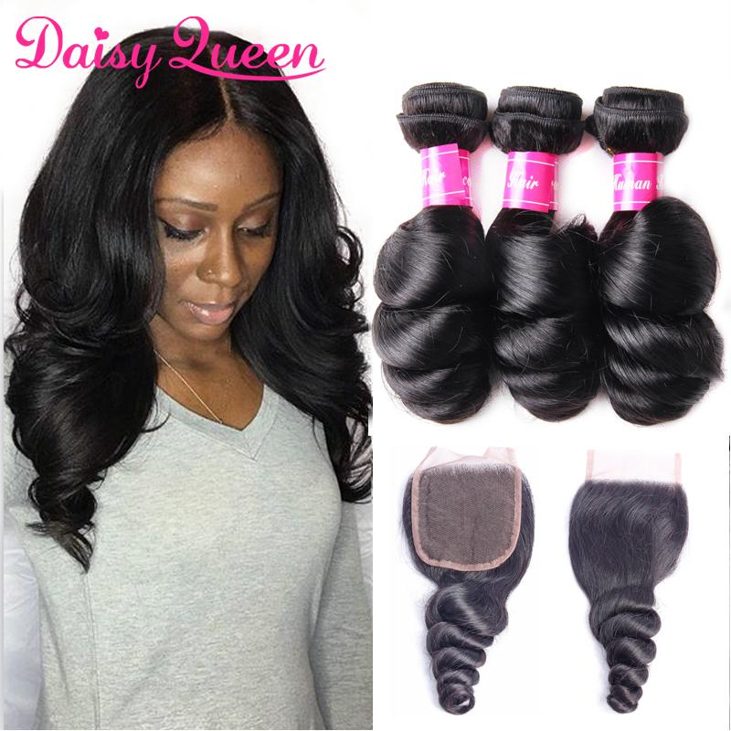 Loose Wave Brazilian Human Hair Bundles with Closure Brazilian Virgin Hair Loose Curly With Lace Closure Unprocessed 8A Hair Weave Extension