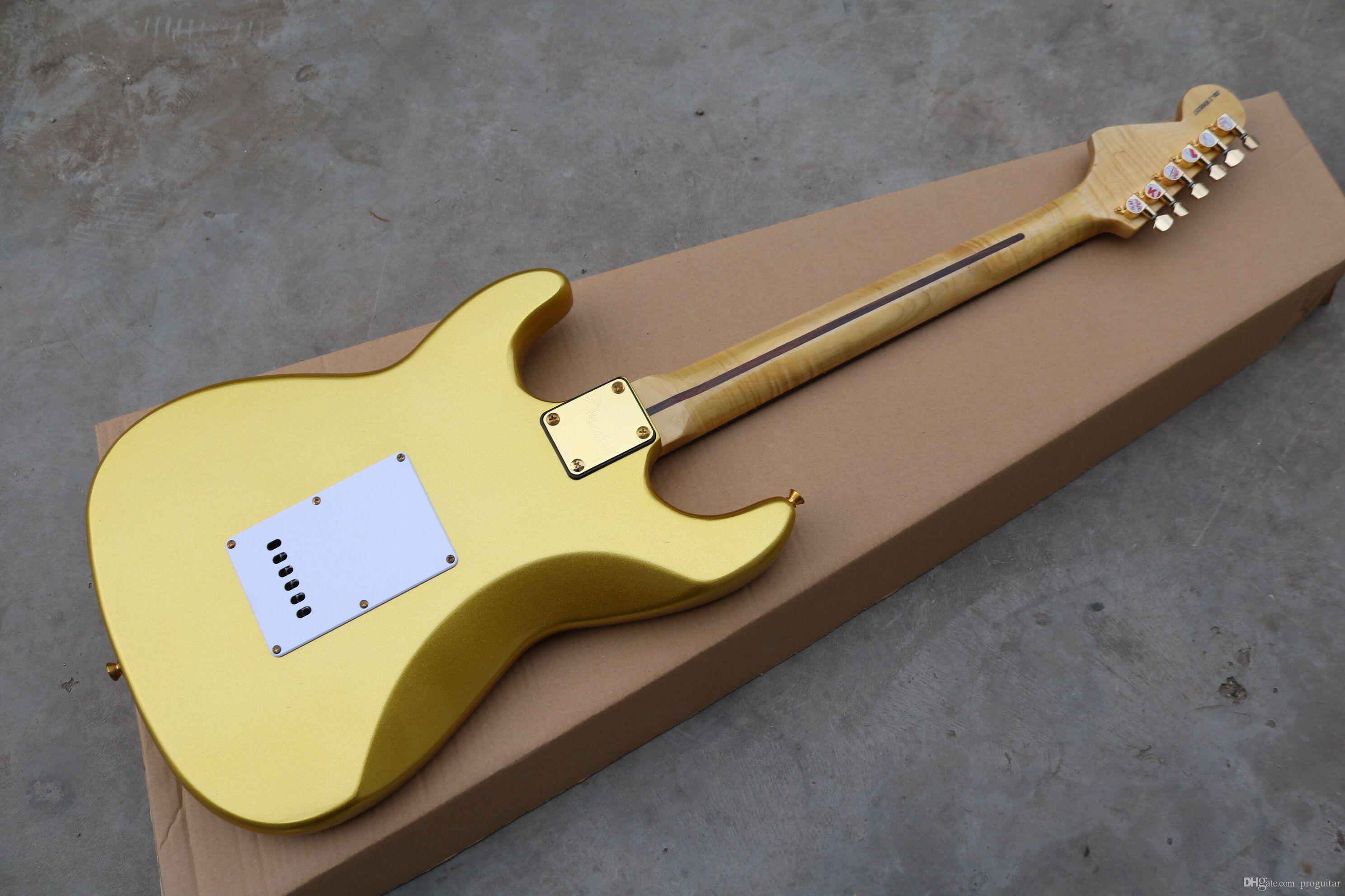 مصنع الجملة GYST-1046 ذهبي اللون الذهبي الأجهزة الصلبة الماهوجني الجسم مقعر روزوود وحة الفريتس st الغيتار الكهربائي ، شحن مجاني