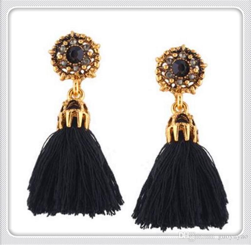 2018New Designs Long Tassel Earrings Women Fashionestseller Leather Tassels Dangle Earrings With Rhinestone Drop Earring Drop Free Shipping