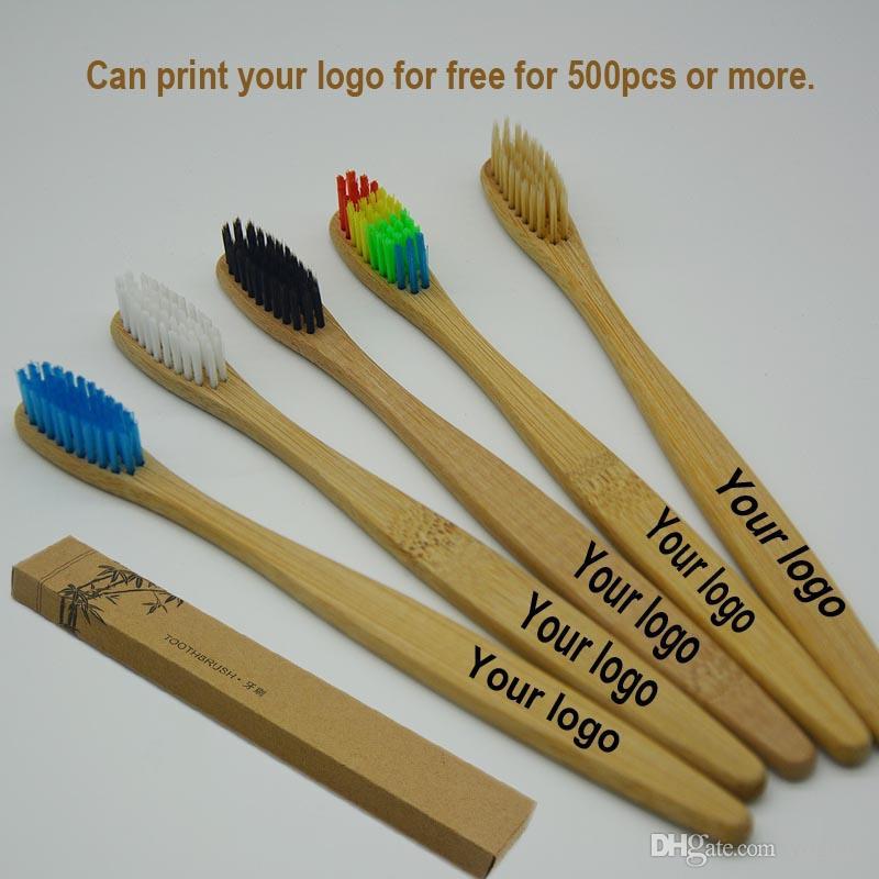 perakende kutusu ile diş için OEM özelleştirme logosu Kişiselleştirilmiş BambooToothbrushes Dil Temizleyici Protez Seyahat Seti çevre diş fırçası