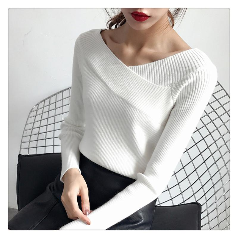 Carol Diaries 2018 Sexy pullovers sweater women Autumn winter retro Long sleeve jumper Elegant slim v neck sweaters 6 colors