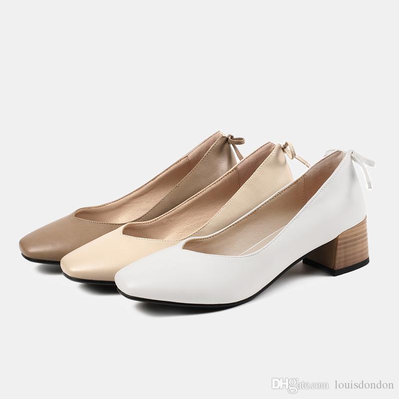 패션 여성의 높은 품질 평방 발가락 땅딸막 한 발 뒤꿈치가 드레스 사무실 통근 흰색 베이지 색 신발 플러스 사이즈 43 (42)에 미끄러 펌프