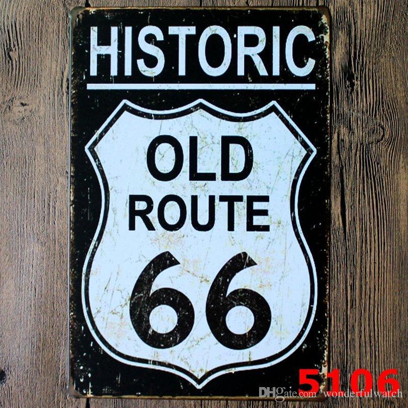 100 pcs Route 66 Design Estilo Vintage Ferro Pintura Para Sala de estar Decoração Criativa Tin Poster Criar Latas de Atmosfera Sinal 20 * 30 cm H401