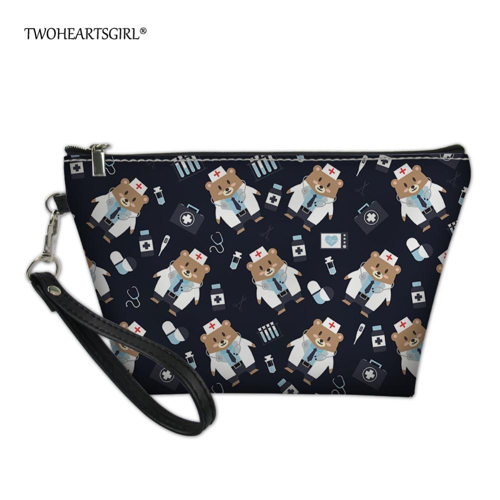 wholesale Cute Cartoon Nurse Bear Make Up Bag Pu Leather Zipper Cosmetic Bag for Ladies Small Organizer Women Makeup Bags