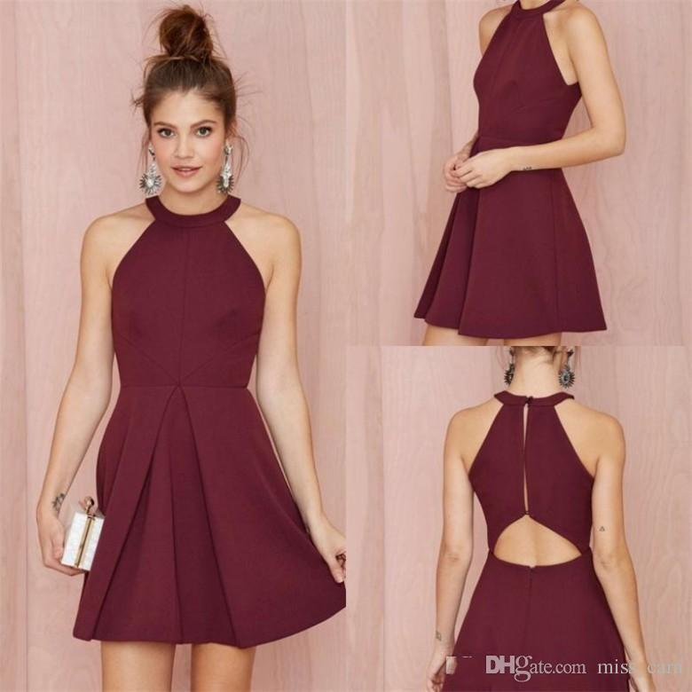 Compre Simple Junior Borgoña Vestidos De Cóctel Halter Corto Vestido ...