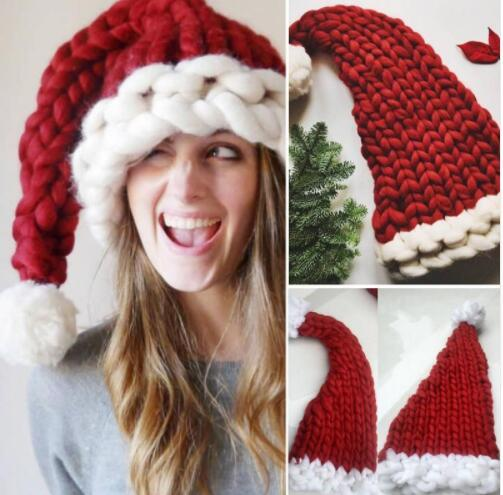 Crochet Christmas Hats Adults.2019 Baby Adult Knit Christmas Hat Santa Claus Hats Kids Gifts Children Soft Knit Xmas Decoration Sata Caps Photo Prop Hat Ljjk1054 From B2b Life
