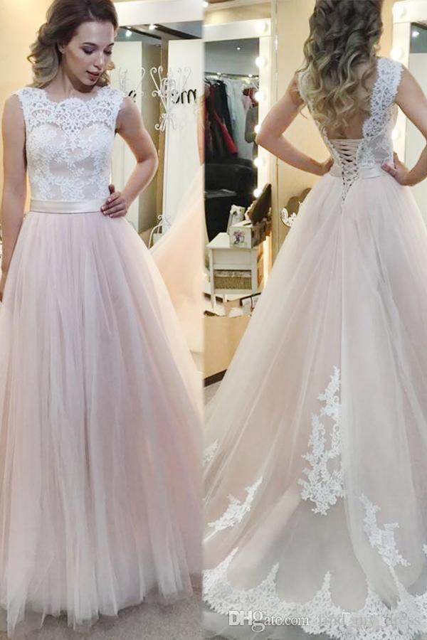 Coloré A Robes De Mariée En Dentelle De Ligne Tulle Nouvelle Ceinture Princesse Robes De Mariée Robes De Coutume blanches et roses Made Made
