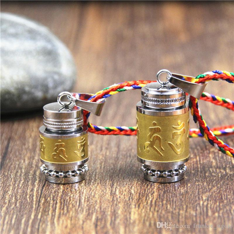 Titanium Steel Buddhism Six Words Rotatable Pendant Om Mani Padme Hum Prayer Wheel Mantra Bottle Urn Locket Necklace Ashes Memorial Jewelry
