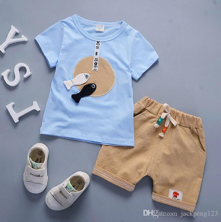 مبيعات الجملة 2018 الخريف الأطفال الجديد دعوى الربيع عارضة سترة ذات أكمام طويلة اثنين من قطعة الصبي الطفل ملابس الأطفال القطن