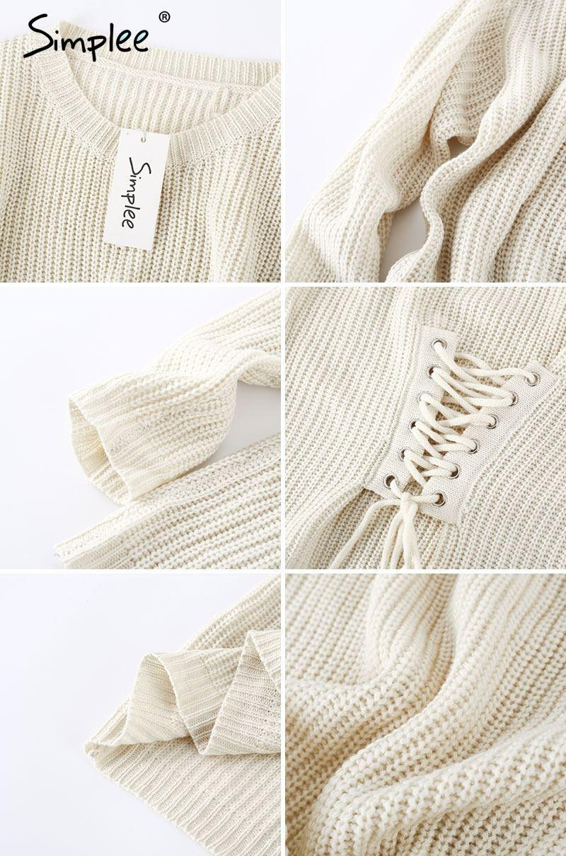 Compre Simplee Negro Con Cordones Suéter De Punto Suéter De Las ...