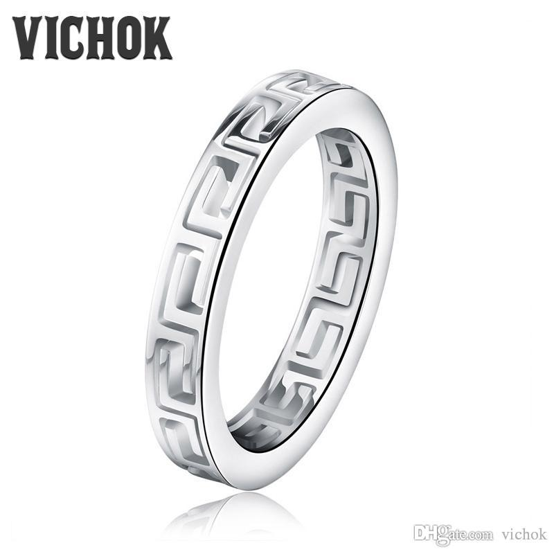 Simple Hollow Band Rings 316L Stainless Steel Biker Ring For Women Men Fashion Luxury Jewelry anel masculino anillos With Free Box VICHOK