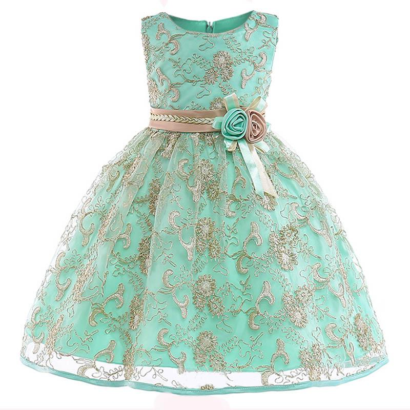 Cheap New Cute Off Shoulder Lace Sash Ball Gown Net Baby Girl Birthday Party Christmas Pageant Dresses Children Flower Girl Gown 2018