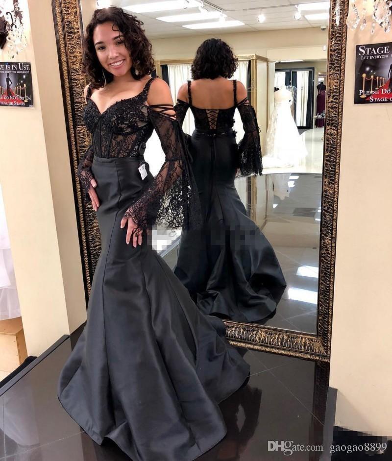 2019 Siyah Abiye Kız Alayı Elbiseler Parti Gelinlik modelleri Özel Durum Elbise Giymek Kapalı Omuz Çan Kollu Tam boy Korse En