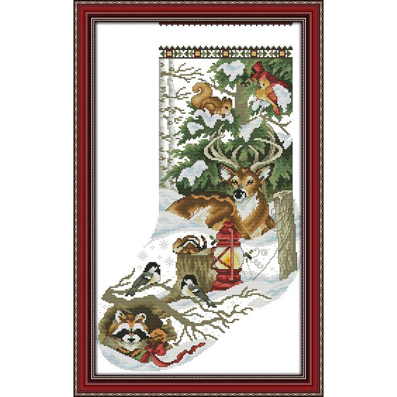 L'hiver jungle Bas De Noël Compté Point De Croix Compté DMC Point De Croix DIY 11CT 14CT Point De Croix Broderie À La Main à La Couture