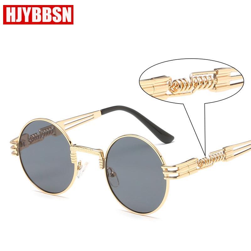 3f336e5c1 HJYBSN 2018 New vintage Steampunk Round sunglasses men women Luxury Brand  Eyewear Mirror metal Spring leg design sun glasses