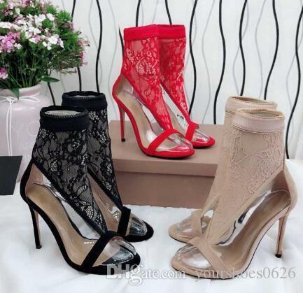أسود أبيض حقيقي جلد شبكة الكاحل أحذية امرأة اللمحة تو الجوف غريب عالية الكعب أحذية امرأة قصيرة الأحذية الصيف ساندا