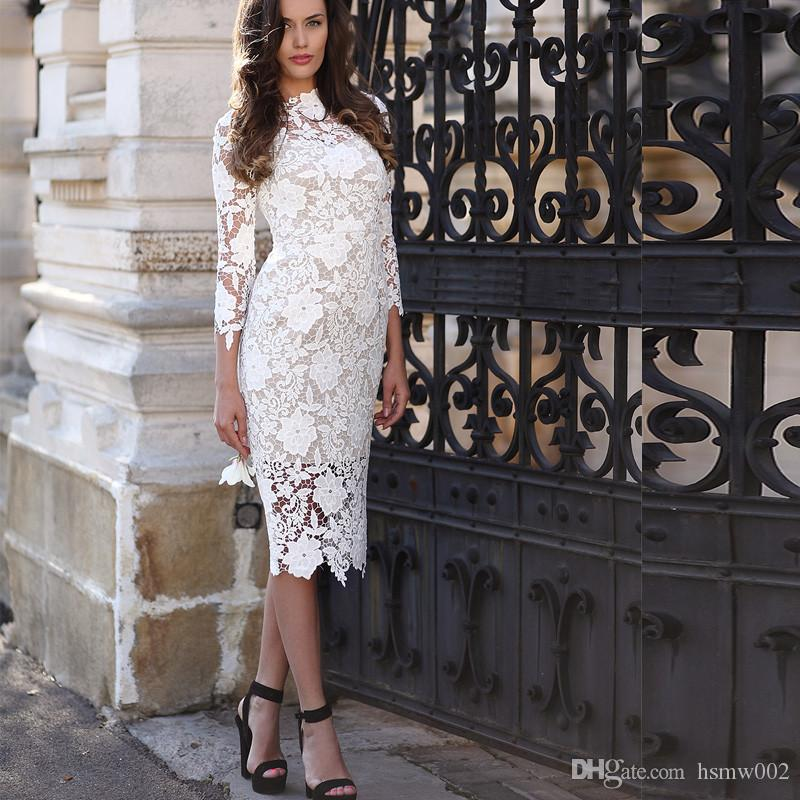 Fashion Ivory Lace Formal Short Sheath Evening Dresses Sexy 3/4 Long Sleeves High Neck Elegant Short Evening Gowns Gorgeous Celebrity Dress