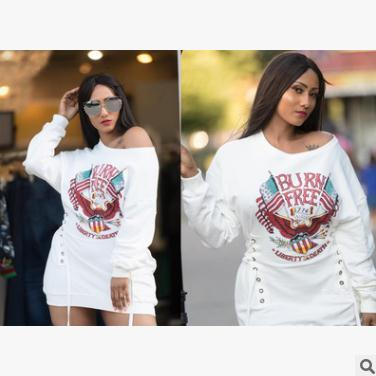 2018 New Womens Dress American Independence Day Print Sexy Dress Bandage waist decoration White loose casual clothing