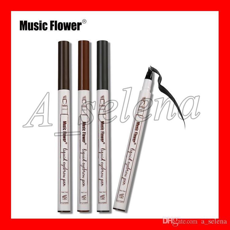 Crayon à sourcils liquides de la musique Fleur 3 Couleurs Sourire Enhancisseur Quatre sourcils Tête Sylindre 24 heures Imperticules Livraison gratuite