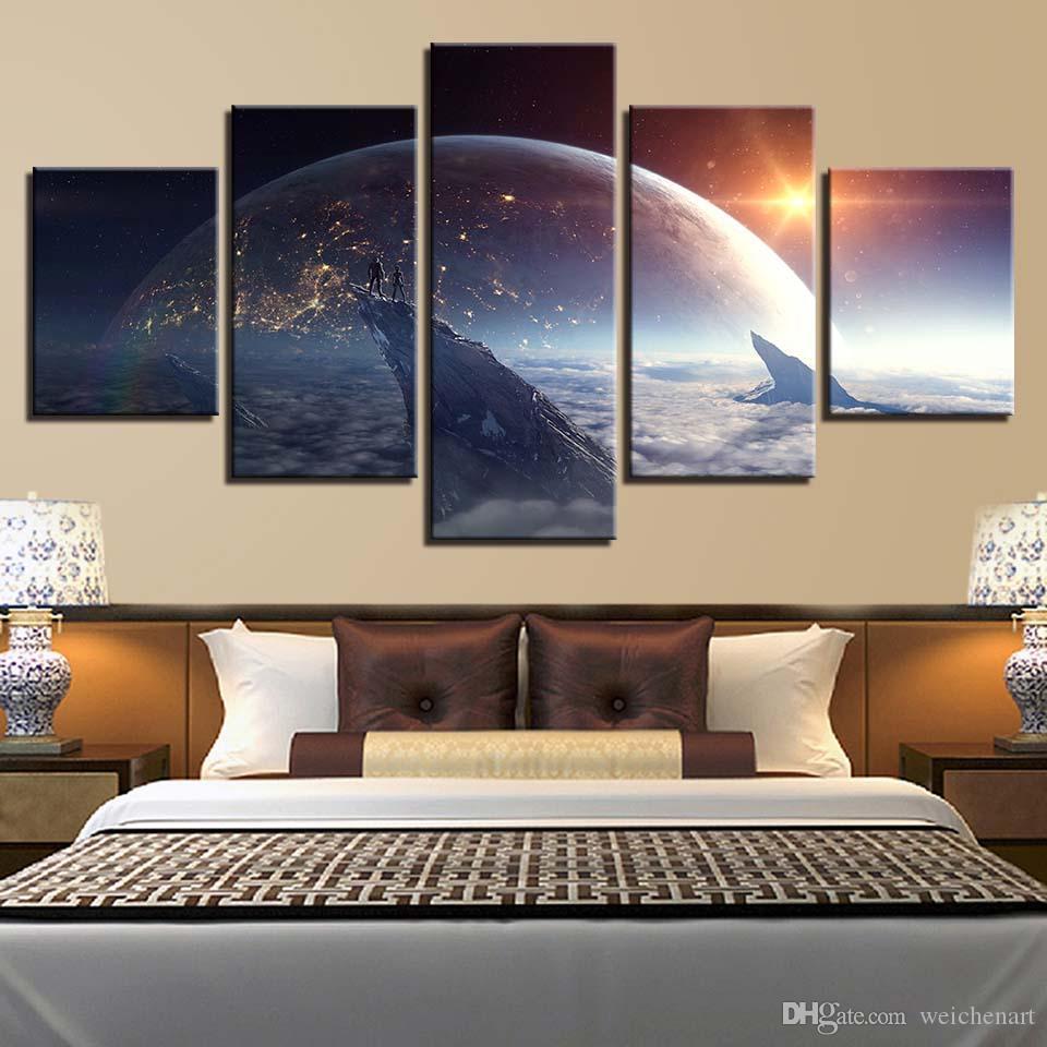 Modern HD Baskılı Wall Art Canvas Resimler 5 adet Evren Gezegenler Yüzey Uzay Özet Peyzaj Ev Dekorasyonu Boyama