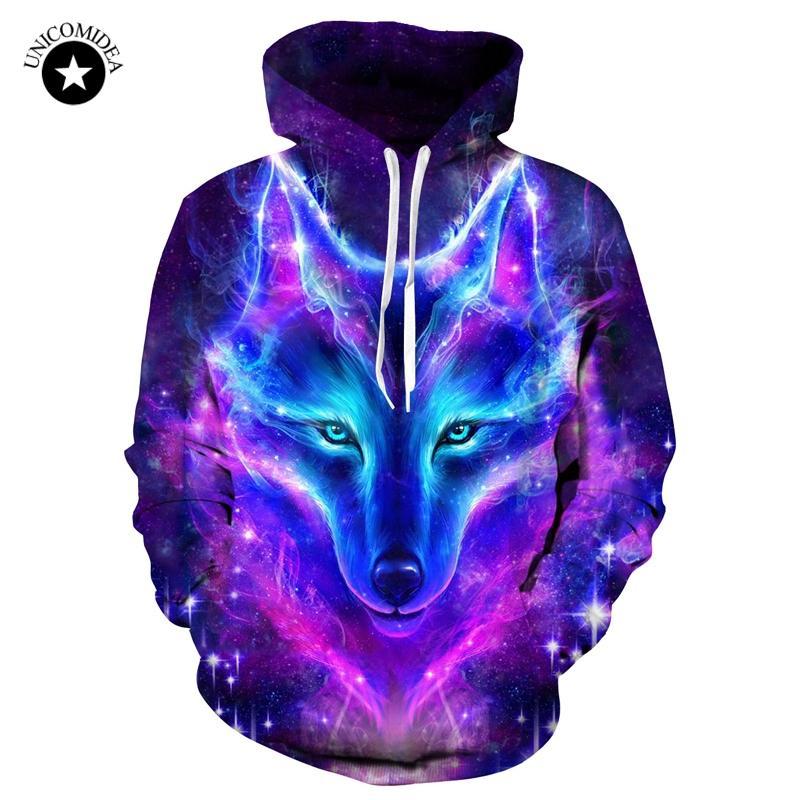 Galáxia lobo impresso hoodies homens 3d sweatshrit fatos de treino animal streetwear casuais pullover casaco euro plus size com capuz dropshipping