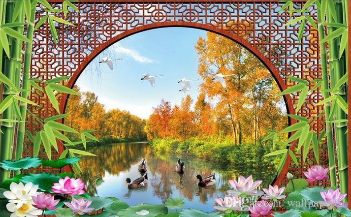 Foto Tapeta Wysokiej Jakości 3D Stereoskopowe Piękna Rzeka Widok TV Tło Backdrop Sypialnia Photo Wall Paper 3D