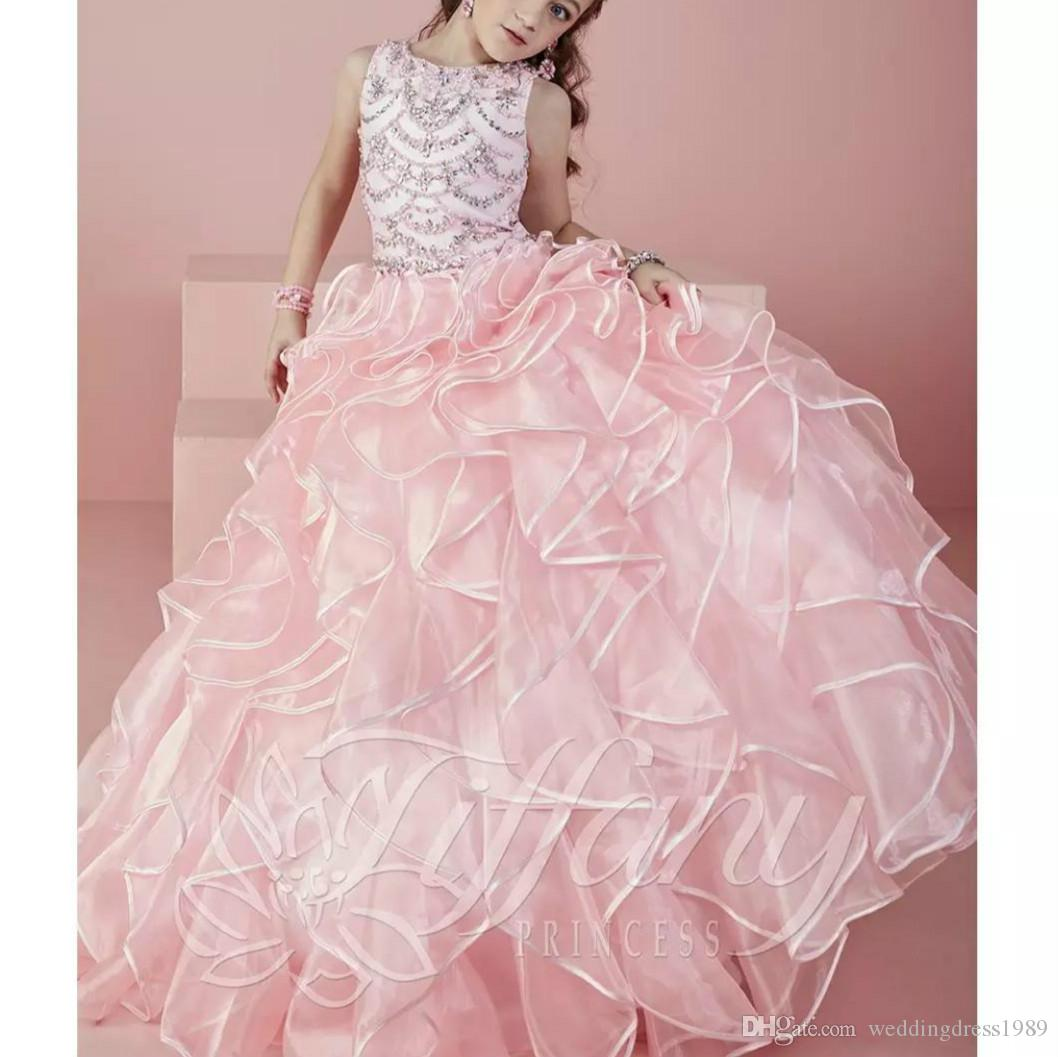 Princess Beads Crystal Ruffles Pink Flower Girls Dress para la boda Long Girls Vestido del desfile Organza First Communion Dress Girls Party Gowns