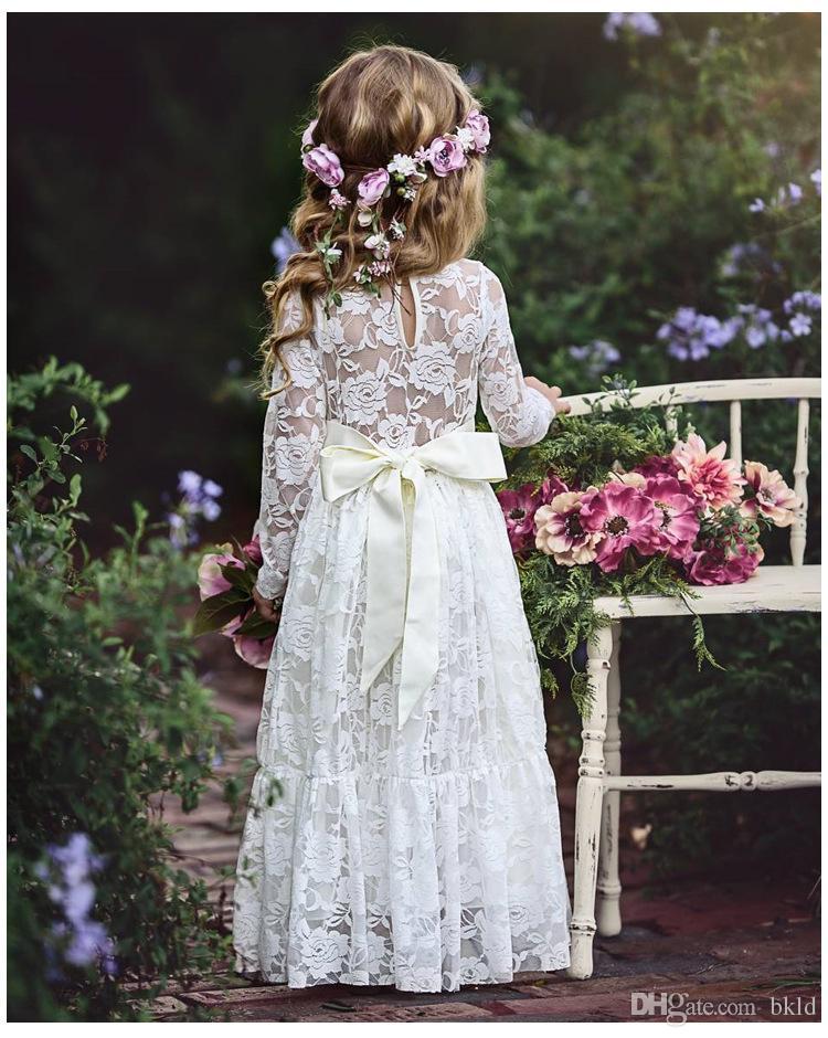 الفتيات عيد الميلاد زهرة الدانتيل اللباس الاطفال الفساتين لفتاة الأميرة حزب اللباس طويلة الأكمام ربيع الخريف الأطفال الفتيات الملابس