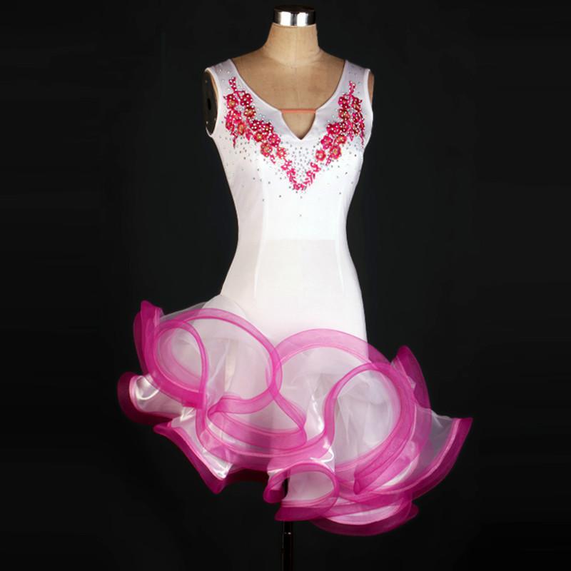 Sin mangas borla latina latino vestido de baile mujeres salsa blanca sexy chica latina vestidos de niños para las niñas de la competencia