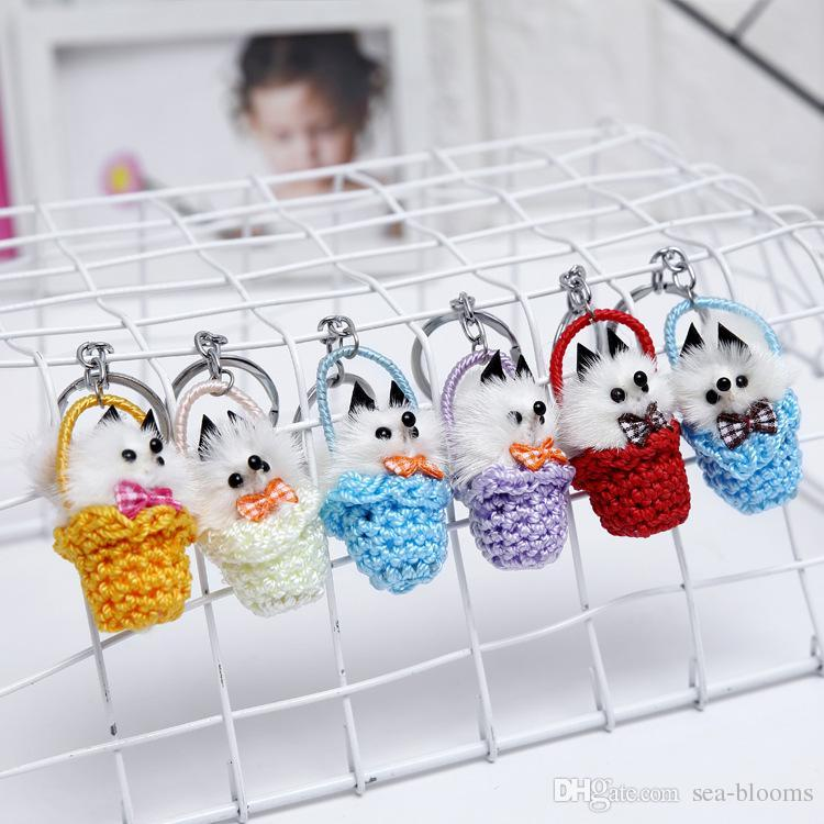 Mix Random Styles Animal keychain Real Fur Grass Basket Small Fox Bag Keyring Accessories Plush Pendant Cute Key Chain Jewelry G558R