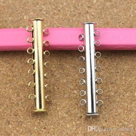 10 قطعة / الوحدة الذهب / الروديوم اللون المشبك المغناطيسي مشبك السنانير مع 7 حلقات ل diy سوار قلادة مجوهرات موصلات diy F786C