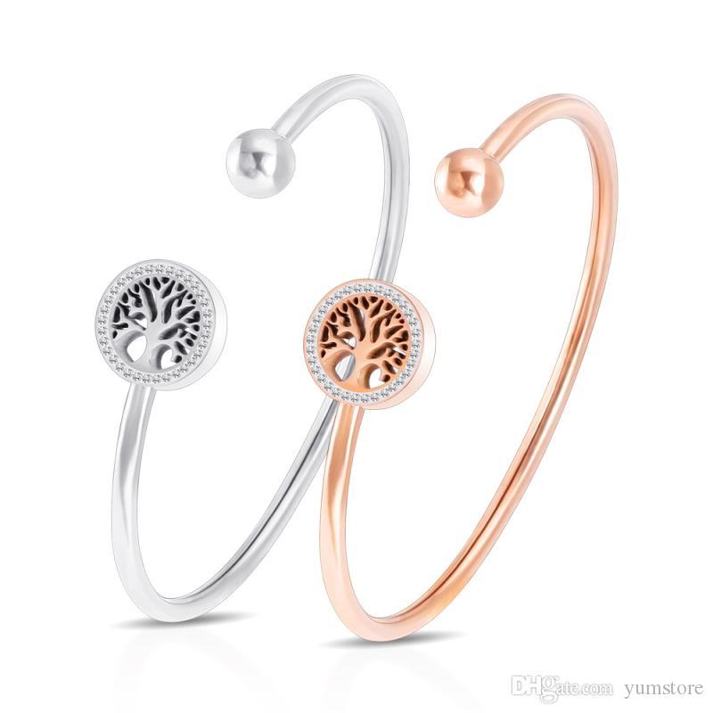 Mode Femmes Bracelets Avec Laissez Motif Cristaux Manchette En Acier Inoxydable Plaqué Or Rose Bracelet Manchette Pour Femmes Filles
