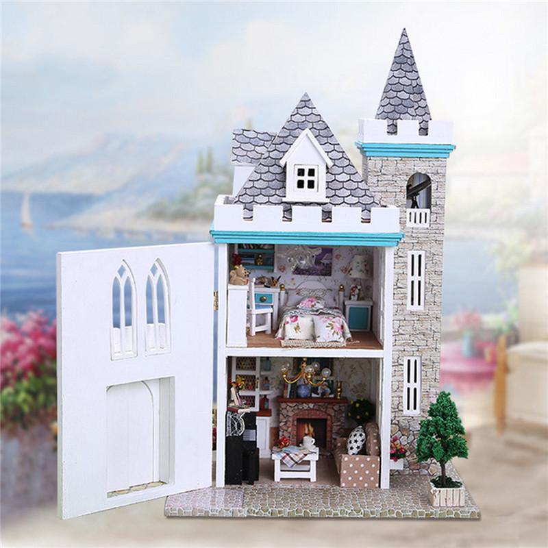 DIY Moonlight Castle Maison De Poupée Artisanat Miniature Projet Kit Enfants