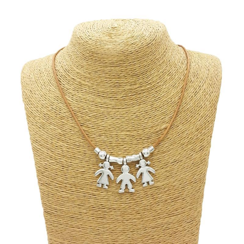 1-3 Kinder Jungen Mädchen Anhänger Halsketten Leder Kette Sohn Tochter Familie Schmuck Geburtstagsgeschenk für Kindertag Geschenke