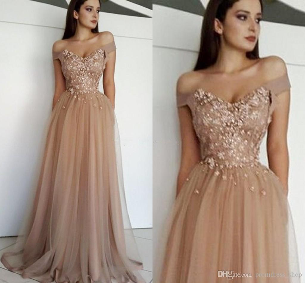 New Elegant Off The Shoulder Evening Dresses Sweetheart Appliques Beaded Tulle Floor Length Brown Prom Dresses Formal Gowns Zipper Up