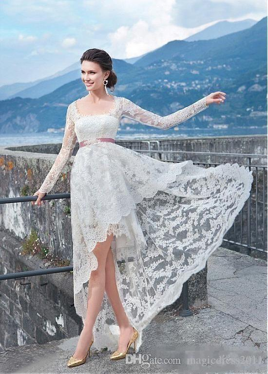 Discount 2018 Generous Full Lace High Low Wedding Dresses With Long ...