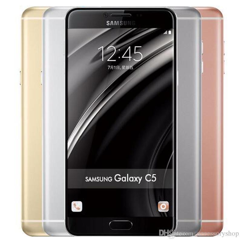 Refurbished Original Samsung Galaxy C5 C5000 Dual SIM 5.2 inch Octa Core 4GB RAM 32/64GB ROM 16MP 4G LTE Android Smart Phone Free DHL 1pcs