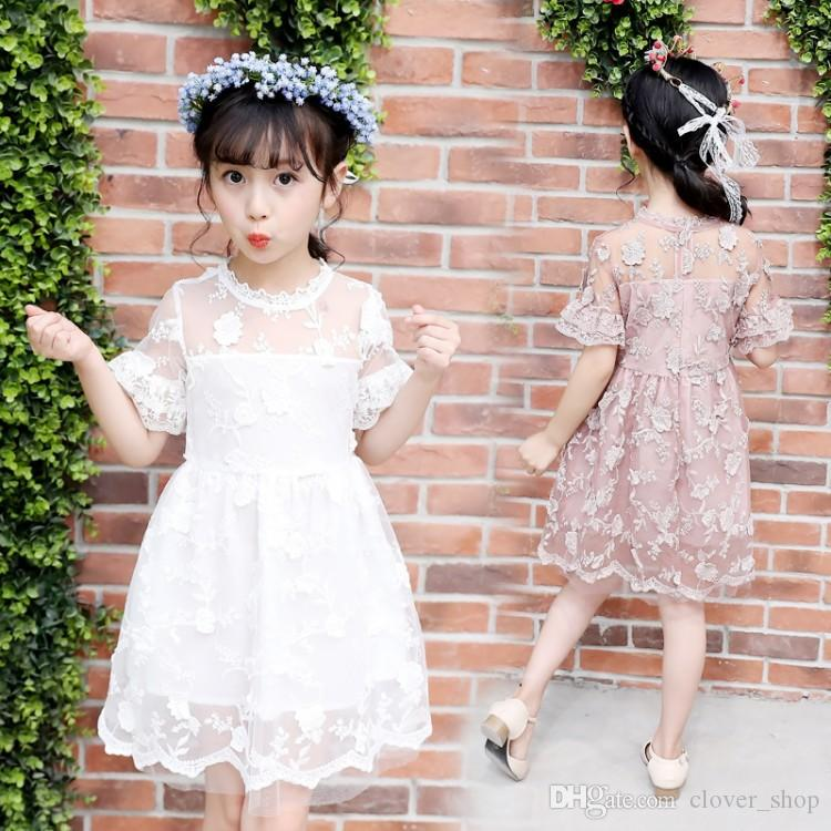 2018 Новое прибытие лето девочки кружева платье с коротким рукавом цветок вышивка Pirncess кружева платья для детей Одежда подарок на День Рождения