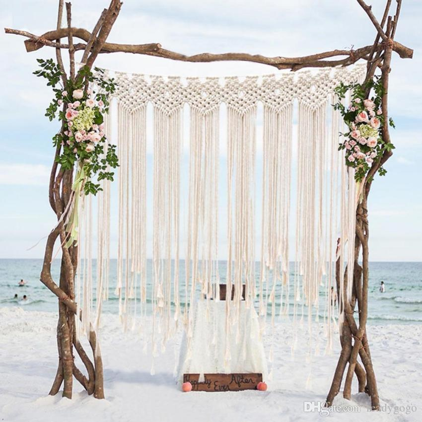 bohemian Wedding Party Booth Backdrop Cotton Rope Macrame Wall Hanging Bohemian Tassel Curtain for Home Room 115x100 cm